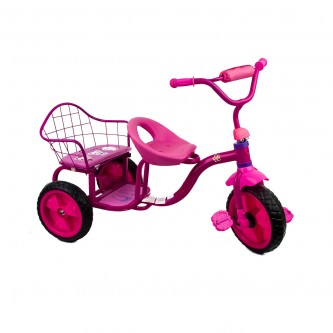دراجة اطفال ثلاث عجلات - 2 مقعد -لون وردي موديل TRI295