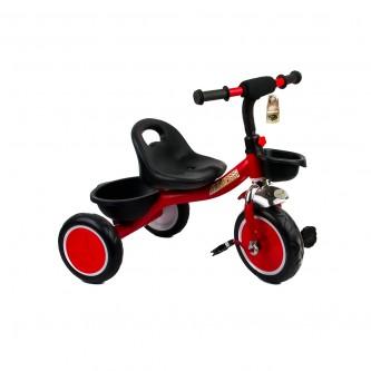 دراجة اطفال ثلاث عجلات - مقعد واحد  سله لون احمر رقم  907