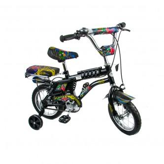 دراجة اطفال رامبو -  مقاس 12 إنش - لون اسود