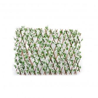 شجر ستارة ورد بلاستيك على خشب لون ابيض  حجم وسط رقم YM-23036