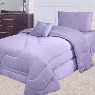 طقم لحاف مفرش سرير عدد 4 قطعه لون موف