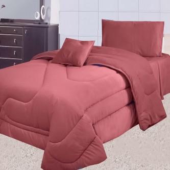 طقم لحاف مفرش سرير عدد 4 قطعه لون عنابي