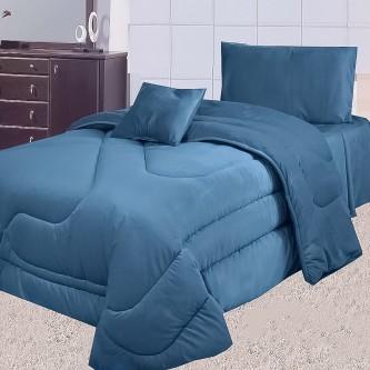 طقم لحاف مفرش سرير عدد 4 قطعه لون كحلي
