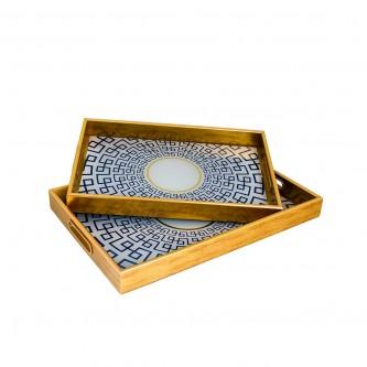 طفرية تقديم مستطيل طقم 2 قطعة زجاج باطار خشبي رقم 81032