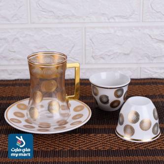 طقم فناجين قهوة  وبيالات شاي مع الصحون 36 قطعة رقم YDH81743