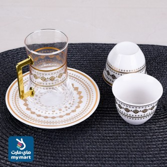 طقم فناجين قهوة  وبيالات شاي مع الصحون 36 قطعة رقم YDH81745