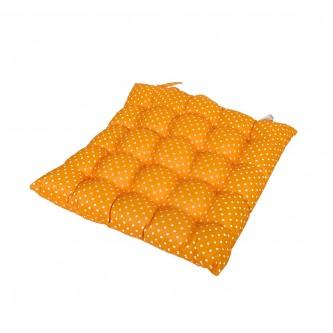 وسادة كرسي مربع  ناعمة ومريحة, كاروهات اصفر موديل 600053