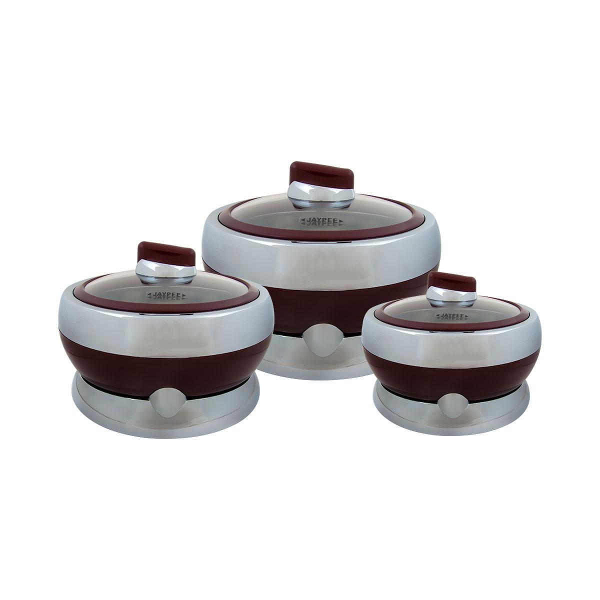حافظات طعام بلاستيك جايبي بغطاء زجاج طقم 3 مقاسات مختلفة لون بني رقم JAY999002