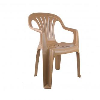 كرسي بلاستيك بذراعين التقنية لون بيج