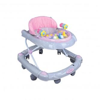 مشاية اطفال بعجلات متحركة لون وردي مع رمادي  موديل - BW05