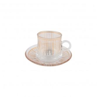 اكواب شاي زجاج مع الصحون , طقم 12 قطعة رقم OCT-GL031