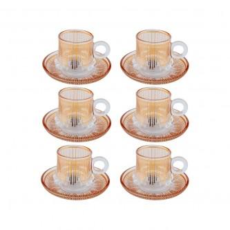 اكواب شاي زجاج مع الصحون , طقم 12 قطعة رقم OCT-GL028