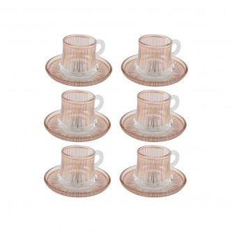 اكواب شاي زجاج مع الصحون , طقم 12 قطعة رقم OCT-GL029