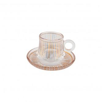 اكواب شاي زجاج مع الصحون , طقم 12 قطعة رقم OCT-GL030