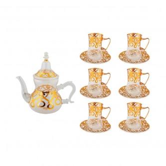 طقم بيالات شاي زجاج مع ابريق وصحون ذهبي 13 قطعه  رقم G21-2874