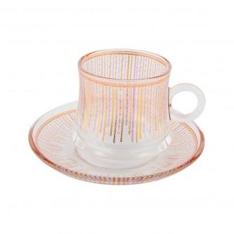 اكواب شاي زجاج مع الصحون , طقم 12 قطعة رقم OCT-GL033