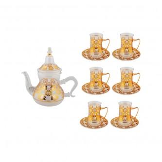 طقم بيالات شاي زجاج مع ابريق وصحون ذهبي 13 قطعه  رقم G21-2876