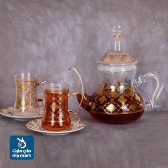طقم بيالات شاي زجاج مع ابريق وصحون ذهبي 13 قطعه  رقم G21-2875