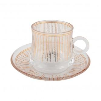 اكواب شاي زجاج مع الصحون , طقم 12 قطعة رقم OCT-GL035