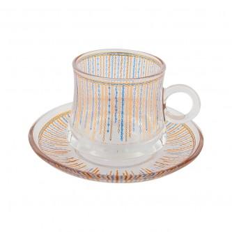 اكواب شاي زجاج مع الصحون , طقم 12 قطعة رقم OCT-GL034