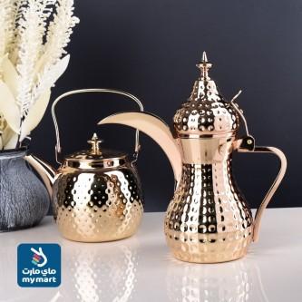 طقم براد شاي استانلس استيل لون ذهبي مقاس 1.2لتر + دلة مقاس  36 OZ  رقم  ASG055