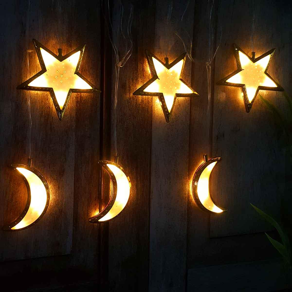 لمبة زينة رمضانية كهربائية  شكل هلال ونجوم لون ذهبي AD-01-561
