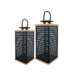 فوانيس استيل طقم مع خشب  2 قطعة لون اسود  رقم AS13133