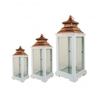 فوانيس زجاج مع خشب طقم 3 قطعة  رقم AS11151