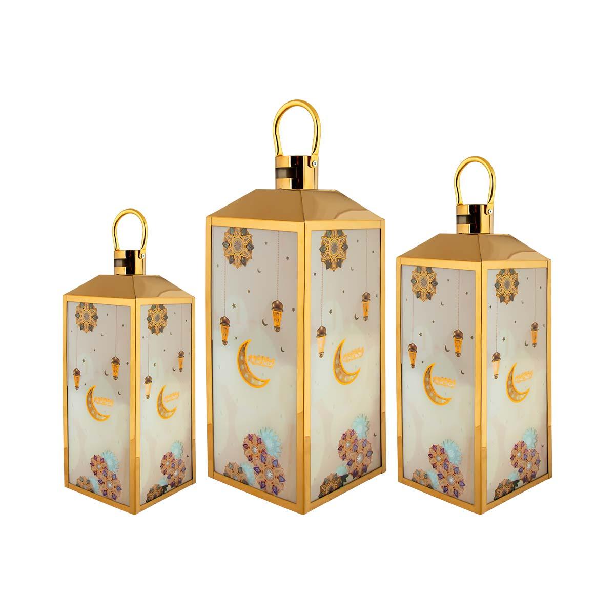 فوانيس استيل طقم 3 قطعة لون ذهبي مع اضاءه  رقم AS13240