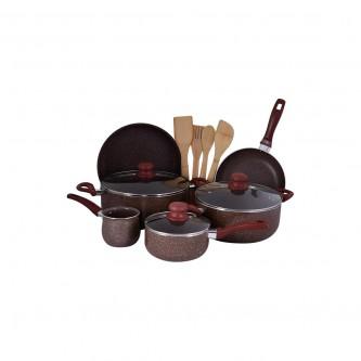 طقم قدور طبخ جرانيت 13قطعه مع الاغطية لون بني رقم BL002