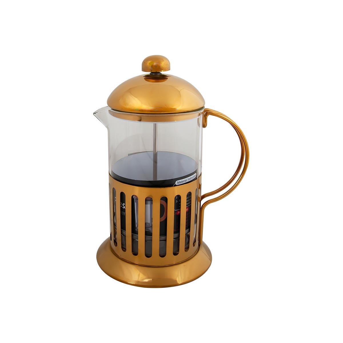 ابريق شاي زجاج بغطاء استيل ذهبي 800 مل رقم 97-JN3