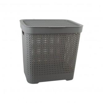 سلة غسيل و تخزين الملابس بلاستيك بغطاء لون رمادي رقم YM-24241