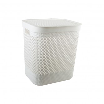 سلة غسيل و تخزين الملابس بلاستيك بغطاء لون ابيض  رقم YM-24239