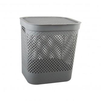 سلة غسيل و تخزين الملابس بلاستيك بغطاء لون رمادي رقم YM-24239