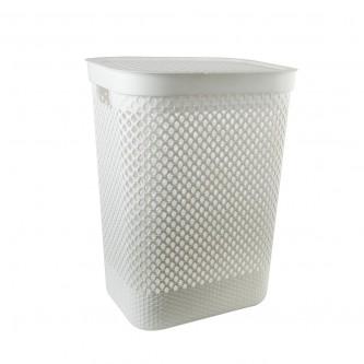 سلة غسيل و تخزين الملابس بلاستيك بغطاء لون ابيض  رقم YM-24240
