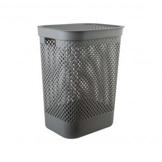 سلة غسيل و تخزين الملابس بلاستيك بغطاء لون رمادي رقم YM-24240