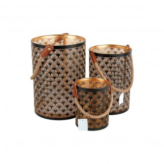 شمعدان حديد هندي طقم 3 حبة لون اسود رقم 67911