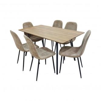 طاولة طعام خشبية مع 6 كرسي لون بني  رقم 1190105