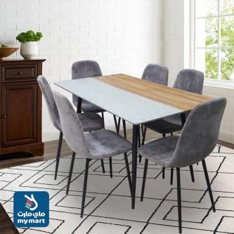 طاولة طعام خشبية مع 6 كرسي  , لون بني مع رمادي , رقم 1190114