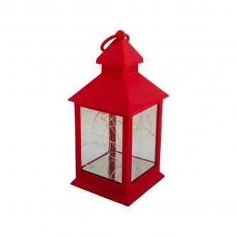 فانوس بلاستيك مع اضاءة تعمل بالبطارية لون احمر رقم 004207