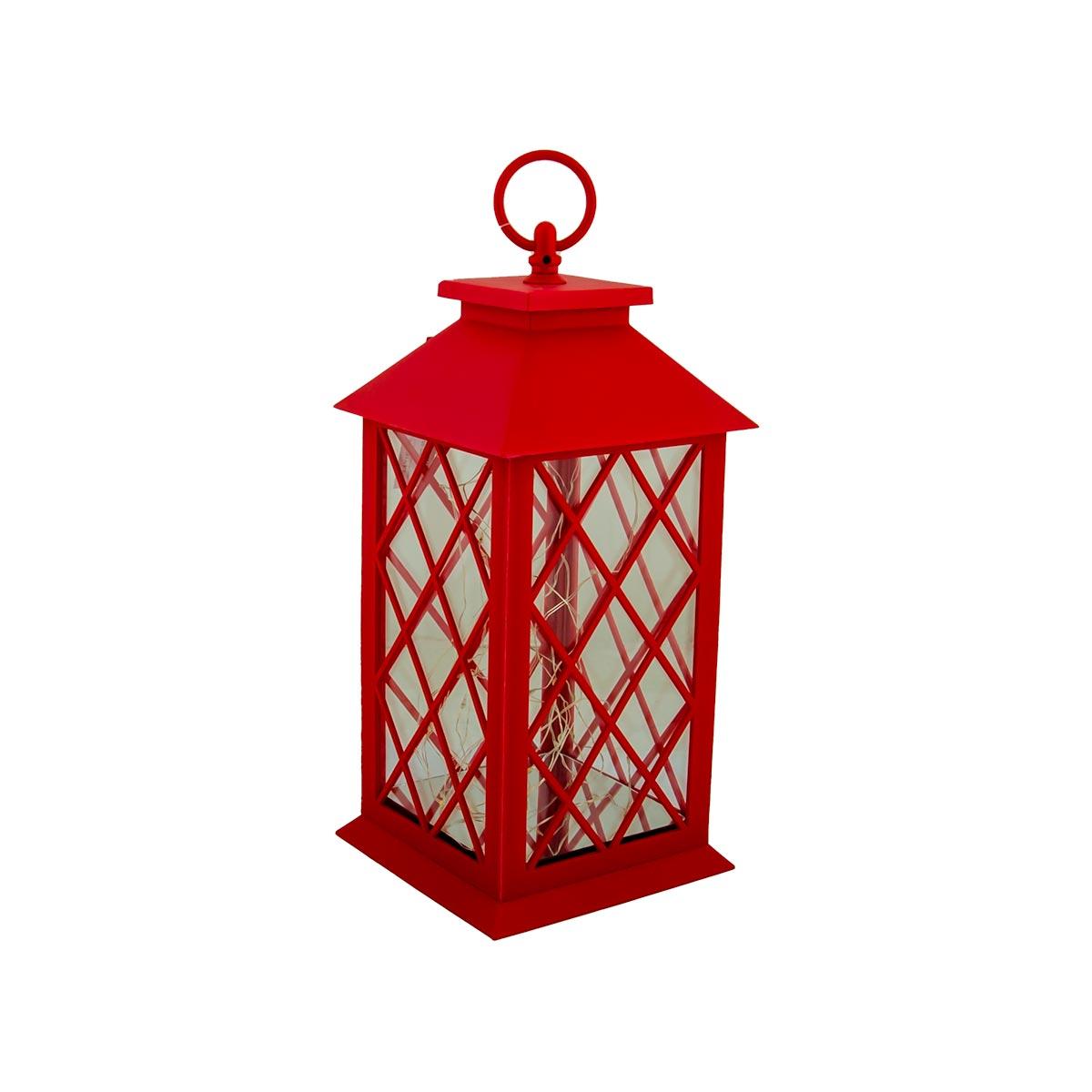 فانوس بلاستيك مع اضاءة تعمل بالبطارية لون احمر  رقم 004211