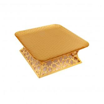 صحن حلا استيل مربع لون ذهبي رقم 30357G