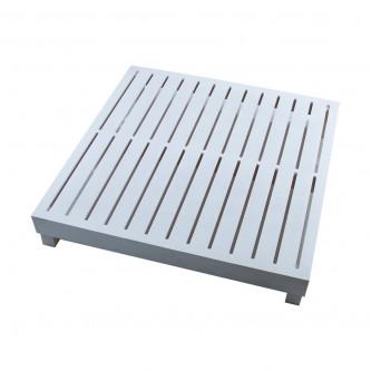 طاولة طعام ارضية خشب شرائح مربع مقاس  80 * 80 * 13 سم لون ابيض