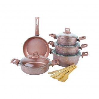 طقم قدور طبخ جرانيت 13قطعه مع الاغطية لون وردي رقم Qu004