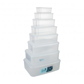 حافظات بلاستيك مستطيل شفاف بغطاء طقم 8 حبة موديل SH19394