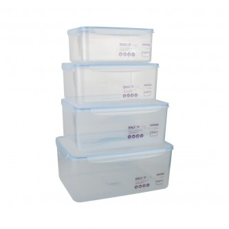 طقم صناديق تخزين بلاستيك شفاف طقم 4 حبة رقم SH19391