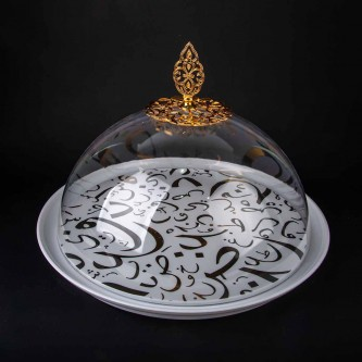 صينية تقديم الكيك والحلا دائري شفاف رقم 1004789