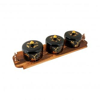 تمرية سيراميك طقم 3 حبة مع طفرية خشب رقم 999012-2
