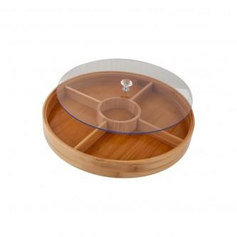 صحن مكسرات خشب دائري بغطاء بلاستيك شفاف رقم L0111
