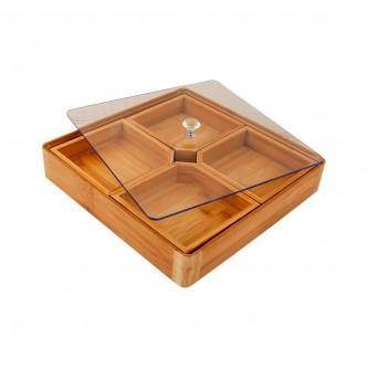 صحن مكسرات خشب مربع بغطاء بلاستيك شفاف رقم L0112